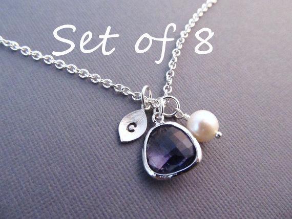 زفاف - Set of 8 Bridesmaid Necklaces, Silver Leaf with Initial, Jewel, and Pearl, Bridesmaid Gift, Birthstone Necklace, Bridal Jewelry