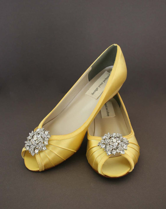 Yellow Wedding Shoes -- Yellow Peeptoe Wedge Wedding Shoes with Classic  Rhinestone Cluster with Pearl Accent 859a1a699638