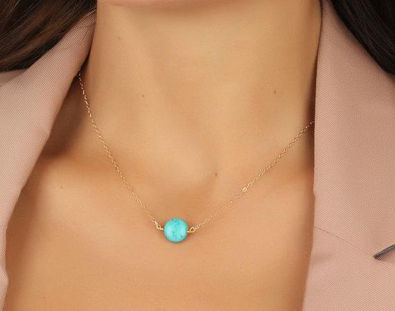 """زفاف - Turquoise necklace, gold necklace, turquoise and gold, bridesmaid jewelry, bridal pendant, best friend necklace, 14k gold necklace, """"Antiope"""