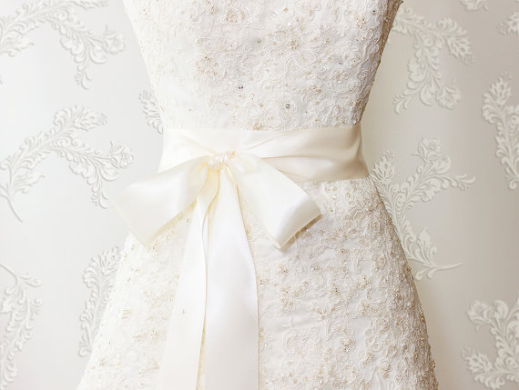 Wedding - Bridal Sash - Romantic Luxe Satin Ribbon Sash - Wedding Sashes - Soft Ivory - 2.25 in - Bridal Belt