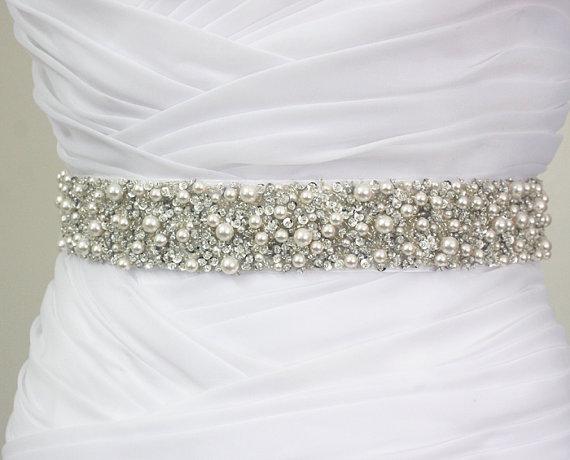 "Mariage - Best Seller - MONACO - 1 1/2"" Swarovski Pearls Encrusted Bridal Sash, Wedding Beaded Sash Belts"