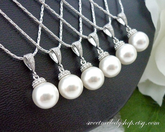 Wedding - Bridesmaid Gift Wedding Jewelry Bridesmaid Jewelry Bridal Jewelry Ivory White OR Cream Swarovski Round Pearl Drop Necklace Hypoallergenic