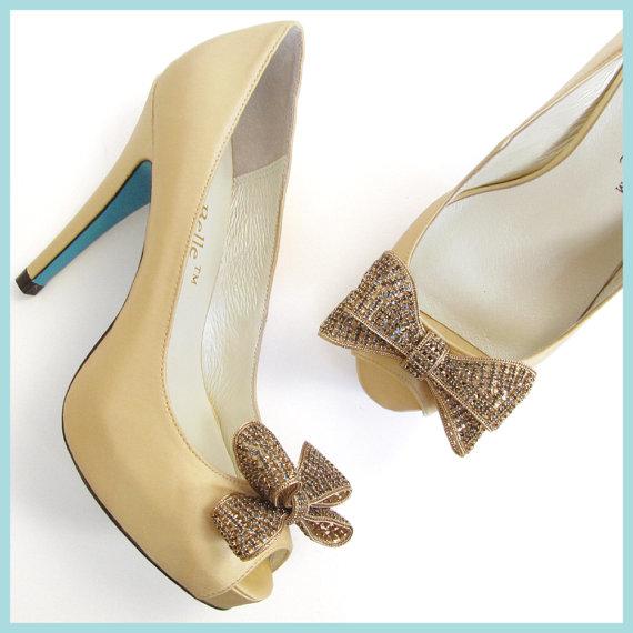 زفاف - Champagne Gold Wedding Shoes with Oversized Sparkling Crystal Bows, Bridal Peep Toe Shoes Something Blue