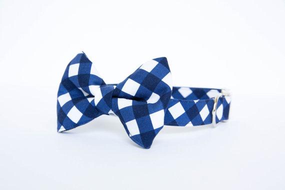 Свадьба - Navy Gingham Bow Tie Dog Collar