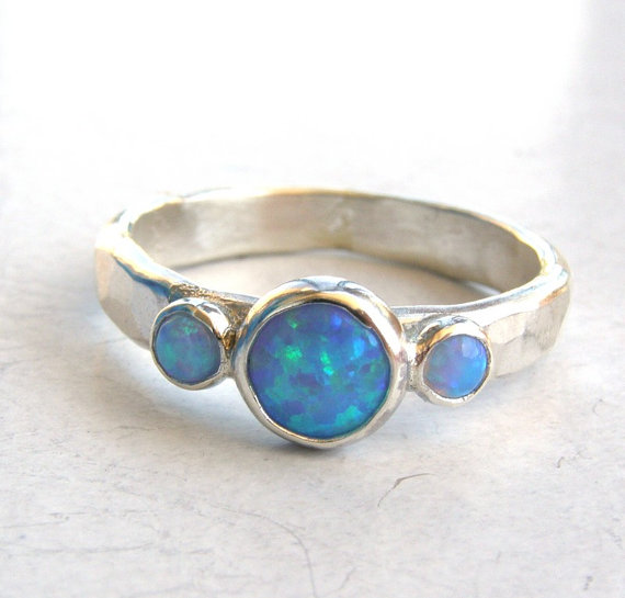 Wedding - Engagement Ring -Gemstone blue opal  Mineral ring Birthstone  - Back to school silver sterling ring -Made to order