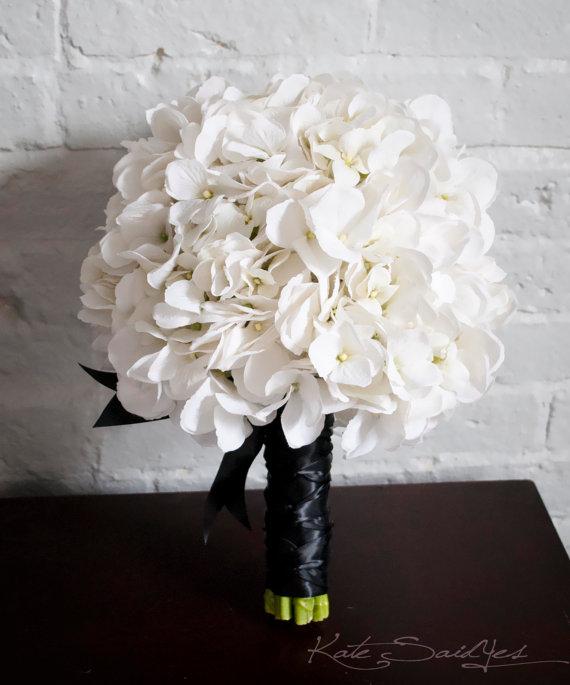 Wedding - White Hydrangea Wedding Bouquet - White and Black Hydrangea Bouquet
