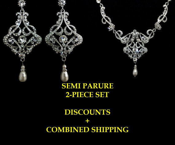 زفاف - Chandelier Bridal Jewelry, Statement Necklace, Art Deco Earrings, Swarovski Crystal Pearl, CARMEN SILVER A