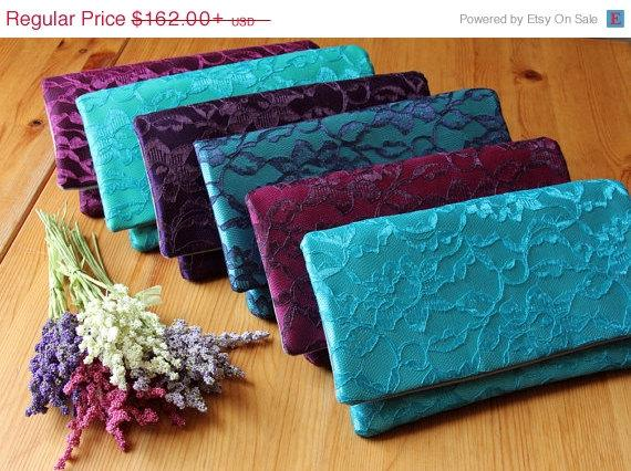 Sale 15% Off 5 Bridesmaid Clutches - Wedding Clutch Purse ...