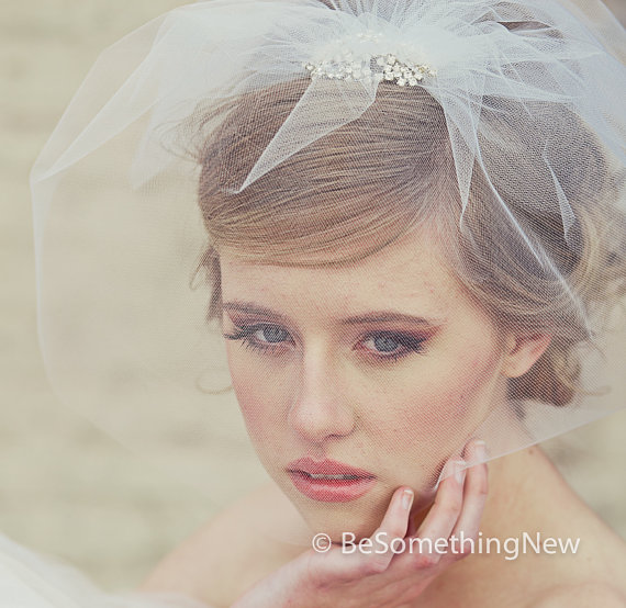 Tulle Birdcage Veil With Flower Rhinestone Comb, Wedding
