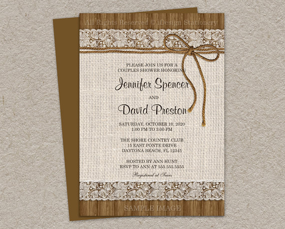 Rustic Couples Shower Invitation With Burlap And Lace DIY – Couples Shower Wedding Invitations