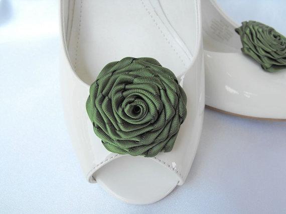 Wedding - Handmade rose shoe clips in dark olive