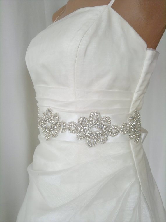 Elegant Rhinestone Diagonal Beaded Wedding Dress Sash Belt