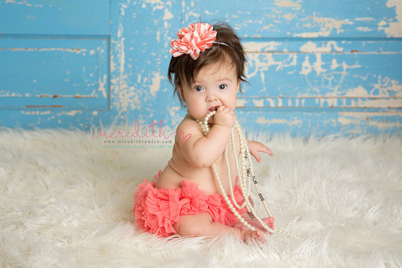 Mariage - Baby Headband Coral Salmon Stripe Flower Girls Babies Infant Toddler White Ivory Sailor Photography Prop Babys