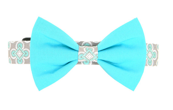زفاف - Aqua Gray Bow Tie Dog Collar/ Dog Bow Tie Collar: Diamond Sea