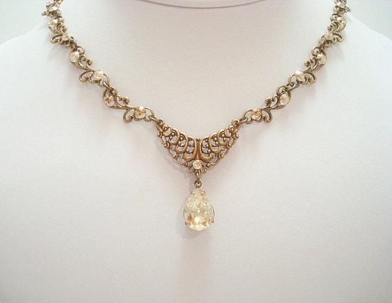 Mariage - Antique brass necklace, wedding jewelry, bridal necklace, Swarovski crystal necklace, bridesmaid jewelry