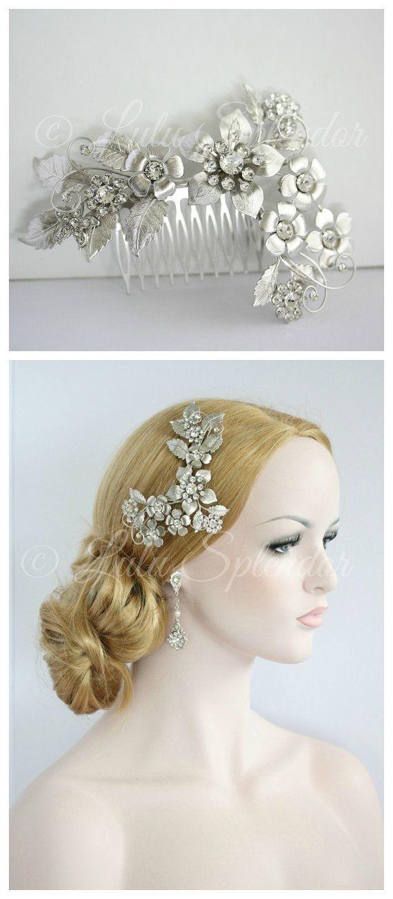 Wedding - Bridal Flower Headpiece Flower Hair Accessories Bridal Headpiece Wedding Hair Comb Wedding Hair Accessories Crystal Pearl GAEA GRAND