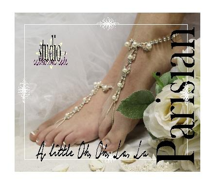 Hochzeit - PARISIAN elegant beach wedding barefoot sandals, PEARL RHINESTONE bridal barefoot sandals, wedding barefoot sandals
