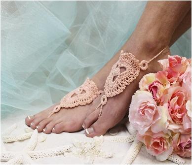 Barefoot Sandals Bridal Wedding Shoes Beach Peach Crochet Foot Jewelry