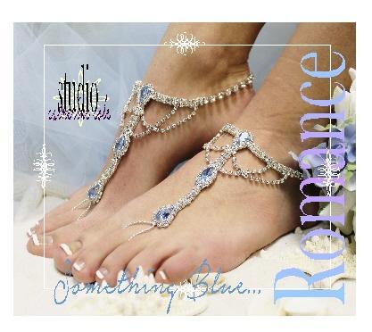 Свадьба - SOMETHING BLUE barefoot sandals wedding, foot jewelry bridal elegant beach wedding, something blue, footless sandles beach wedding