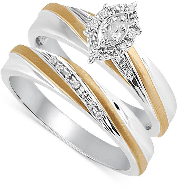 Wedding - Diamond Accent Bridal Set in 14k Gold and Sterling Silver