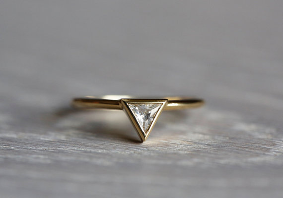 0.2 Carat Trillion Diamond Ring, Diamond Engagement ring, Triangle Diamond  Ring, 14k solid gold