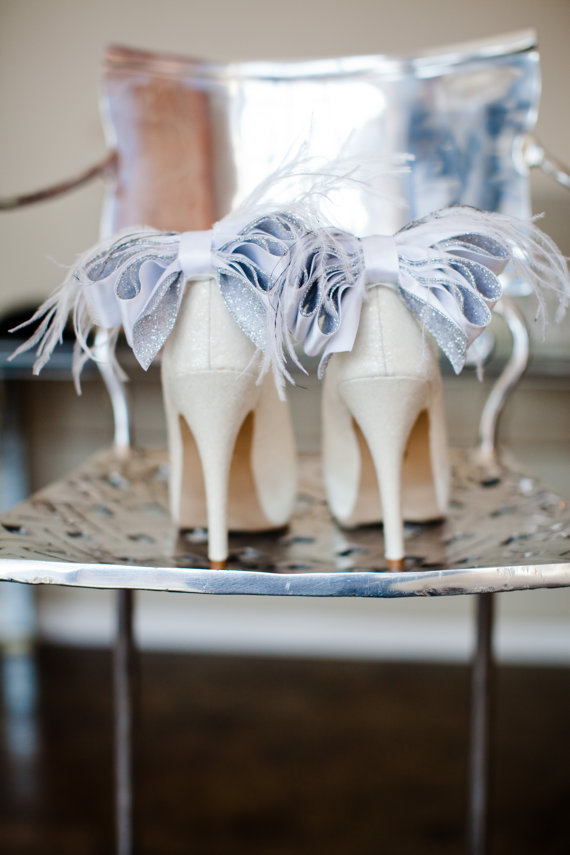 Mariage - Glamorous Bridal Wedding White And Silver Satin Ribbon Bow With Feather Shoe Clips