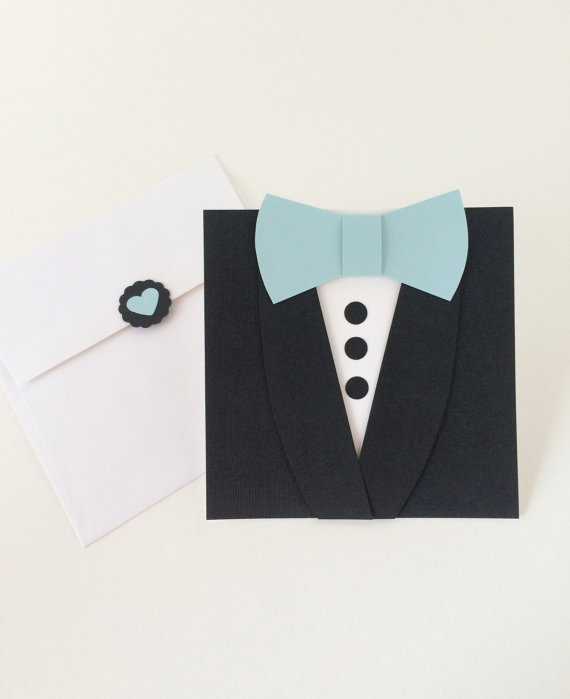 Hochzeit - Groomsmen Wedding Invitation -  Bow Tie Tuxedo card - Tuxedo Invitation - Will you be my Best Man - Bow tie Mens Suit card