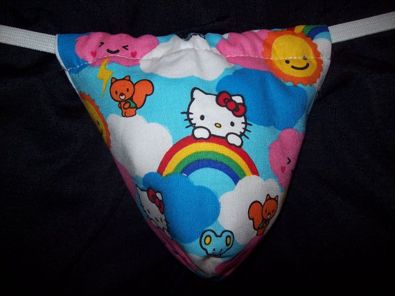 580a99e0c Mens HELLO KITTY CLOUDS G-String Thong Male Wedding Lingerie Underwear