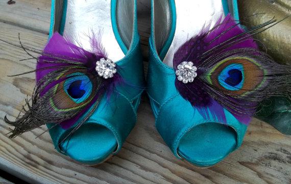 Hochzeit - Wedding Bridal Shoe Clips - Purple Plum Feathers, Peacock Shoe Clips, Feathered Shoe Clips, Wedding Shoe Clips
