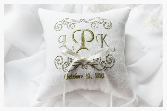 White Wedding Pillow Wedding Ring Pillow Ring Bearer Pillow