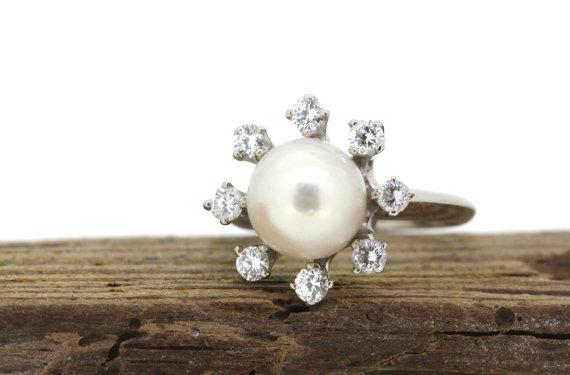 Wedding - SALE Vintage Pearl Ring Cocktail Ring Diamond Halo Ring 18k White Gold Ring Gemstone Ring Alternative Engagement Ring Atomic Era Ring Size 6