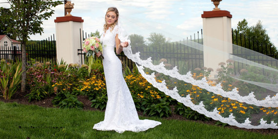 Mariage - Wedding Veil - Cathedral Bridal Alencon Lace Mantilla Veil - Ivory, Light Ivory, White - made to order