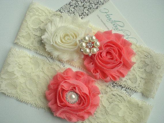 Hochzeit - CORAL Bridal Garter Set - Ivory Keepsake and Toss Wedding Garters - Chiffon Flower Rhinestone Garter - Vintage Lace