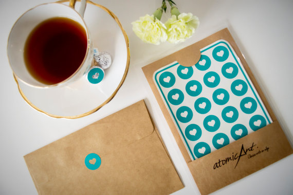 24 heart stickers in teal turquoise handmade envelope seals