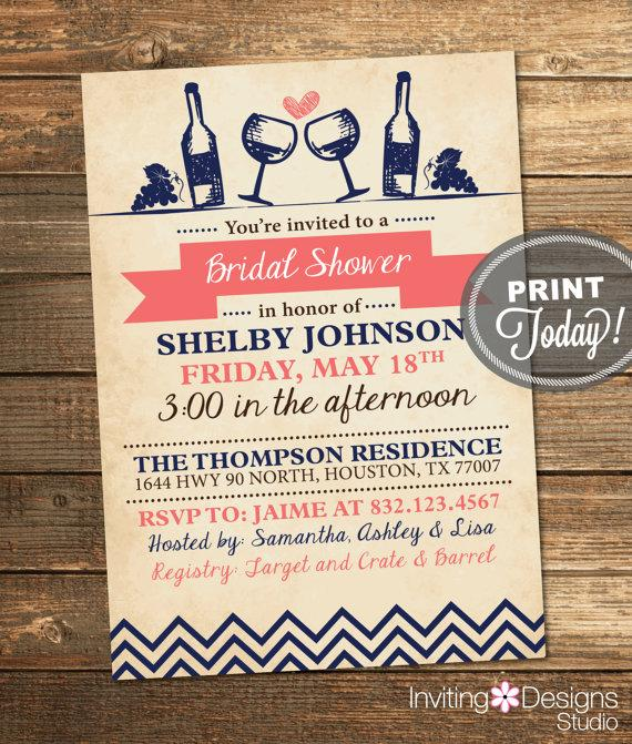 bridal shower invitation wine party engagement party vintage rustic navy blue coral printable custom order instant download