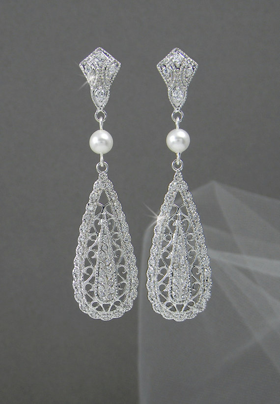 Crystal Bridal Earrings Wedding Jewelry Swarovski Pearl Shelby Vintage Drop
