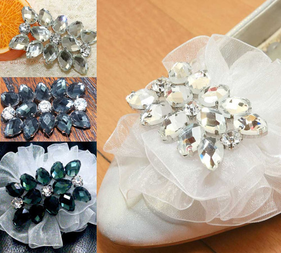 Wedding - A Pair Of Rectangle Shoe Clips,Rhinestone Shoe Clips,Wedding Bridal Shoe Clips,Rectangular,Shoes Decoration,Bridesmaids Gift Shoe Clips