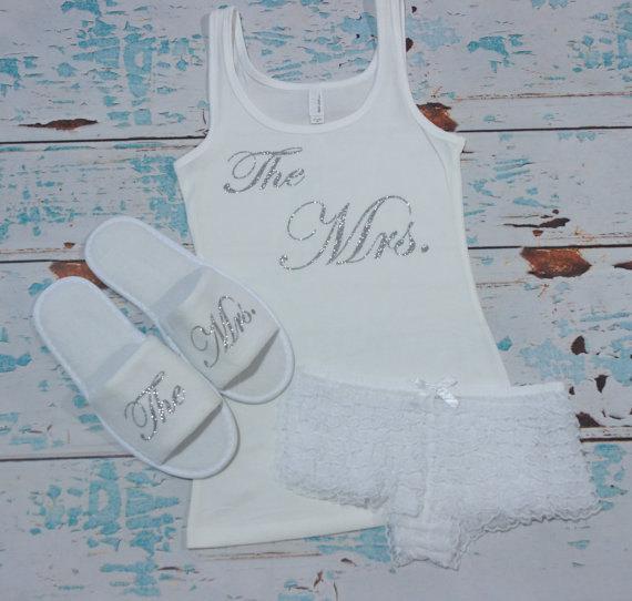 bride lingerie set bride panties bridal slippers bride tank top shirt bridal shower gift bachelorette gift