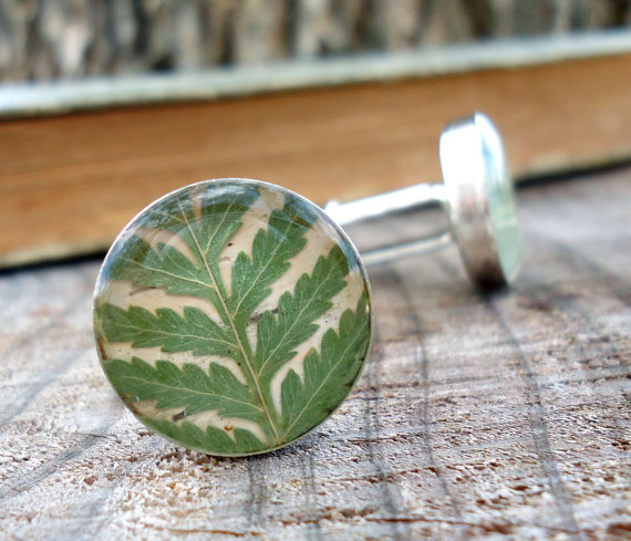 Wedding - Real Fern Cufflinks - Preserved Fern Frond Cuff Links - Green Cufflinks - Rustic Woodland Wedding Groomsmen Gift -  Natural Pressed Leaf