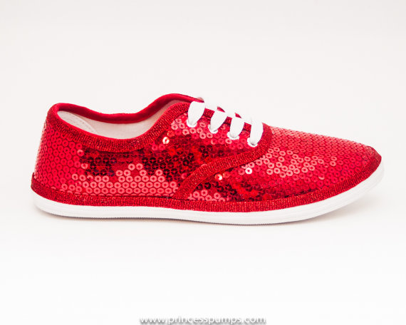Свадьба - Sequin CVO Red Canvas Sneaker Sparkly Tennis Shoes