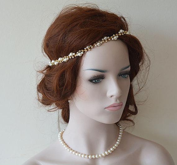 Свадьба - Bridal Rhinestone and Pearl headband, Wedding Headband, Gold Bridal Hair Accessory, Wedding Accessory