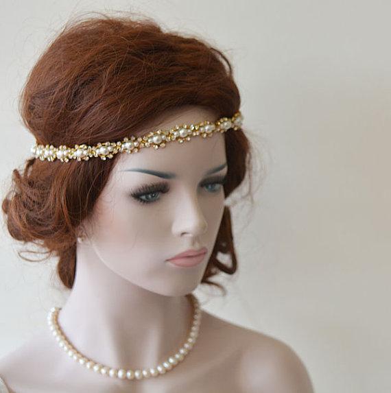 Wedding Hair With Rhinestone Headband : Wedding headband bridal hair accessory