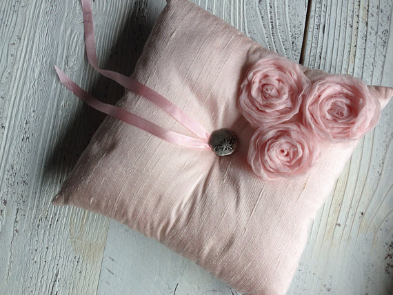 Mariage - Pink Silk Dupioni Ring Bearer Pillow Silk Flower and Ribbon Wedding Ring Pillow Bridal Accessory