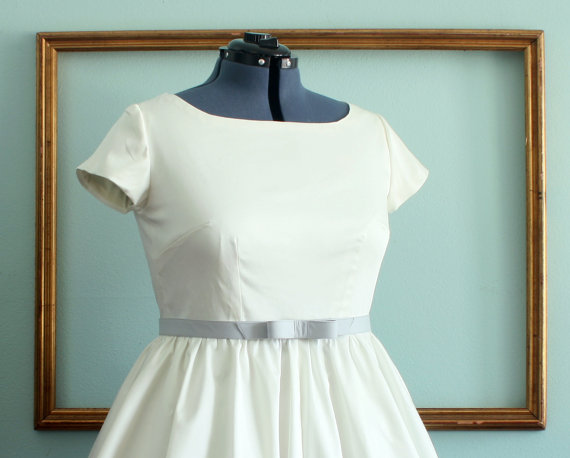 Short Wedding Dress In Ivory Or White Retro 1950s Inspired Dress ...