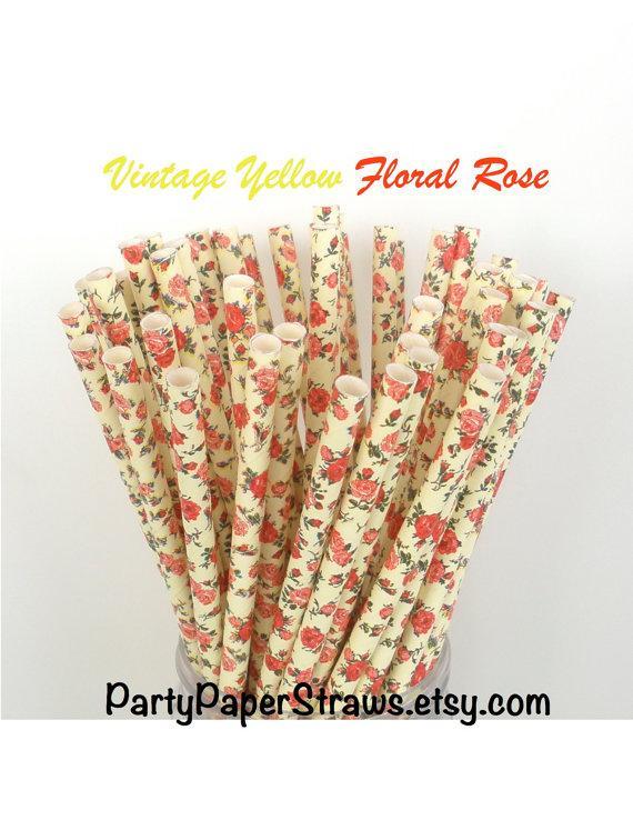 """Hochzeit - Paper Straws Vintage """"Yellow"""" Floral Rose Paper Straws  Mason Jar Straws  Fast Shipping Floral Paper Straws Rose Paper Straws"""