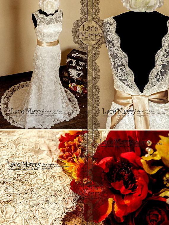 Wedding - Deep V-Cut Back Vintage Style Lace Wedding Dress Features Illusion Neckline and Satin Sash