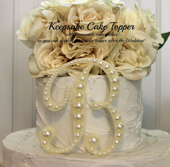 Pearl KEEPSAKE Monogram Wedding Cake Topper Decorated With Pearls In Any Letter A B C D E F G H I J K L M N O P Q R S T U V W X Y Z