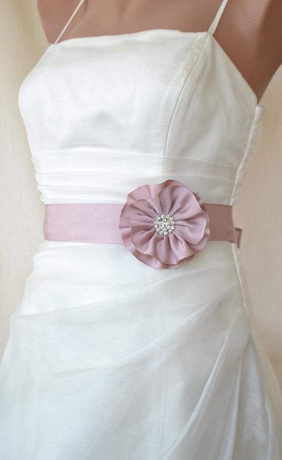 Handcraft blush pink satin flower wedding dress bridal for Wedding dress accessories belt