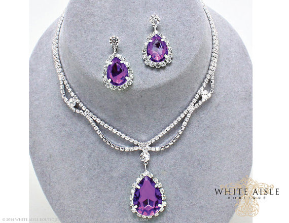 Purple Rhinestone Drop Necklace Set, Bridal Statement Necklace ...
