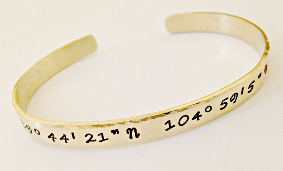 Mariage - Personalized Coordinate Hand Stamped Nu-Gold Cuff Bracelet- Custom Latitude Longitude Jewelry- Mommy, Going Away, Wedding, Sister Gift Idea